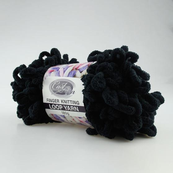 Cast On Finger Knitting Loop Yarn 180 gram Black - 10 pack   Prices Plus
