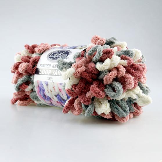 Cast On Finger Knitting Loop Yarn 180 gram Pink / Grey/ White - 10 pack | Prices Plus