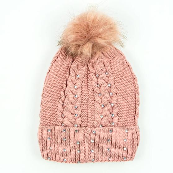 Rockie Ladies Cable Knit Beanie with Pom Pom and Rhinestones | Prices Plus