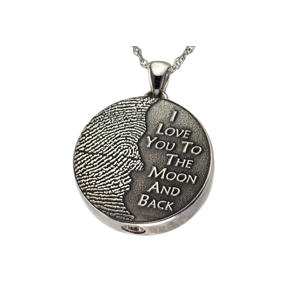 Pet Memorial To The Moon And Back Urn Necklace Cremation Jewelry Memorial Pendant with Urn and Angel Wing Engraved Jewelry