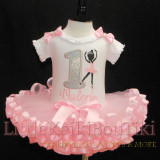 1st birthday girl outfit- Ballerina silhouette-first birthday tutu outfit