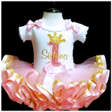 1st birthday girl outfit pink glitter 1 and gold crown