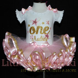 1st birthday outfit girl, glitter one with stars pink and gold ribbon trimmed tutu