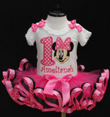 Minnie Mouse 1st Birthday Outfit, toddler birthday dress with customized onesie