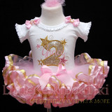 2nd birthday outfit girl, Gold Star birthday tutu outfit-toddler tutu dress