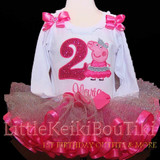 Peppa Pig 2nd birthday tutu outfit -second birthday girl outfit