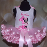 Minnie Mouse 1st birthday outfit Minnie mouse birthday tutu outfit 1st birthday outfit girl ribbon trim tutu outfit 1st birthday tutu outfit