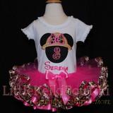 Minnie Mouse birthday tutu outfit -Safari 3rd birthday dress with leopard print ribbon trimmed tutu