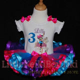 Minnie Mouse birthday 3rd birthday outfit, Carousel Horse with ribbon trimmed tutu
