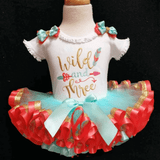 Wild and Three 3rd birthday outfit with triple ribbon trimmed tutu