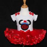Minnie Mouse tutu outfit, cruise wear tutu, Nautical, Minnie Mouse Monogram tutu outfit ribbon trim tutu, captain Minnie, cruise ship outfit