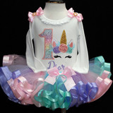 unicorn birthday outfit -princess birthday tutu set with rainbow tutu