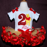 2nd Birthday Outfit Girl- featuring Winnie the Pooh Toddler tutu dress in red and yellow