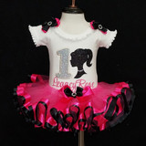 Barbie Silhouette First Birthday Outfit-- 1st birthday outfit Barbie in hot pink and black
