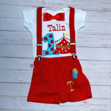 Carnival 1st birthday Boy Outfit with red suspenders