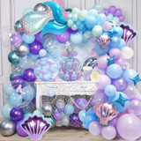 Mermaid Decoration Tail Shell Balloon Garland Arch Baby Shower Girl 1st Birthday Party Favors Little Mermaid Theme Wedding Decor