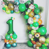 Jungle Safari Party Balloon Arch Kit Tropical Palm Leaf Green Latex Balloons Birthday Party Decoration Kids Wedding Party Supply