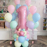 63pcs Pastel Rainbow Latex Balloon Pack Pink 40inch Number Foil Balloon  1st 2nd 3rd Birthday Decor Kids Unicorn Party
