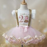Peppa Pig 2nd birthday outfit girl in pink and gold glitter with gold sequin suspenders