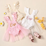 Infant Baby Girls Birthday Romper Dress with Mesh Stitching, One Letter Print Florals Lace Jumpsuits Princess Summer Costume