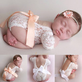 Baby Deep V Backless Clothes Newborn Photo Lace Romper Toddler Hollow Design Photograph Clothing