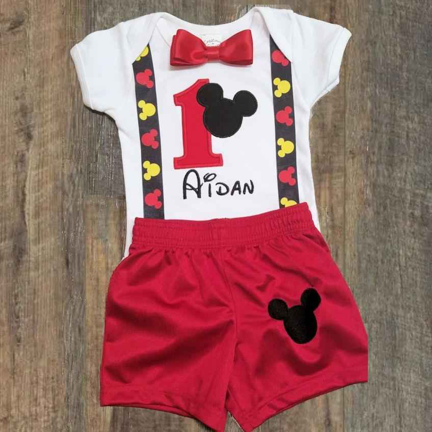 1st birthday boy outfit Mickey Mouse Cake Smash
