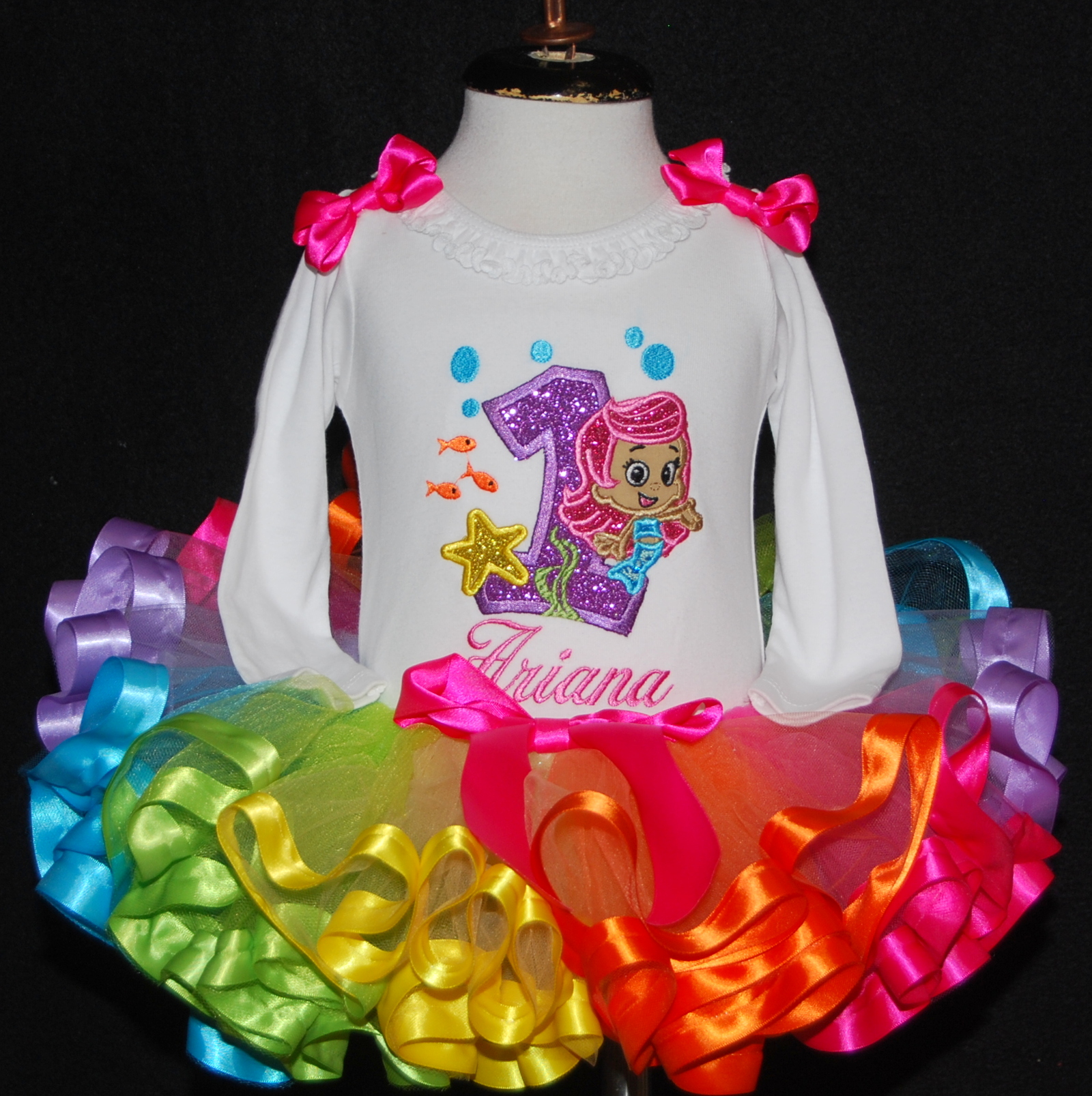 1st birthday girl outfit Bubble guppies, baby girl first birthday outfit