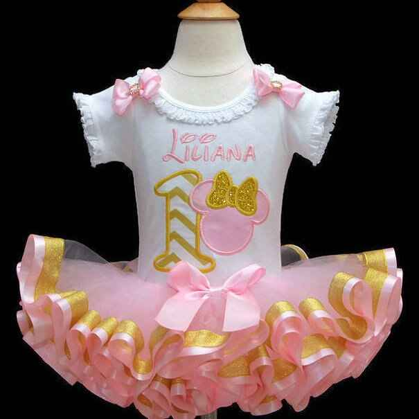 1st birthday girl outfit pink and gold Minnie Mouse Icon