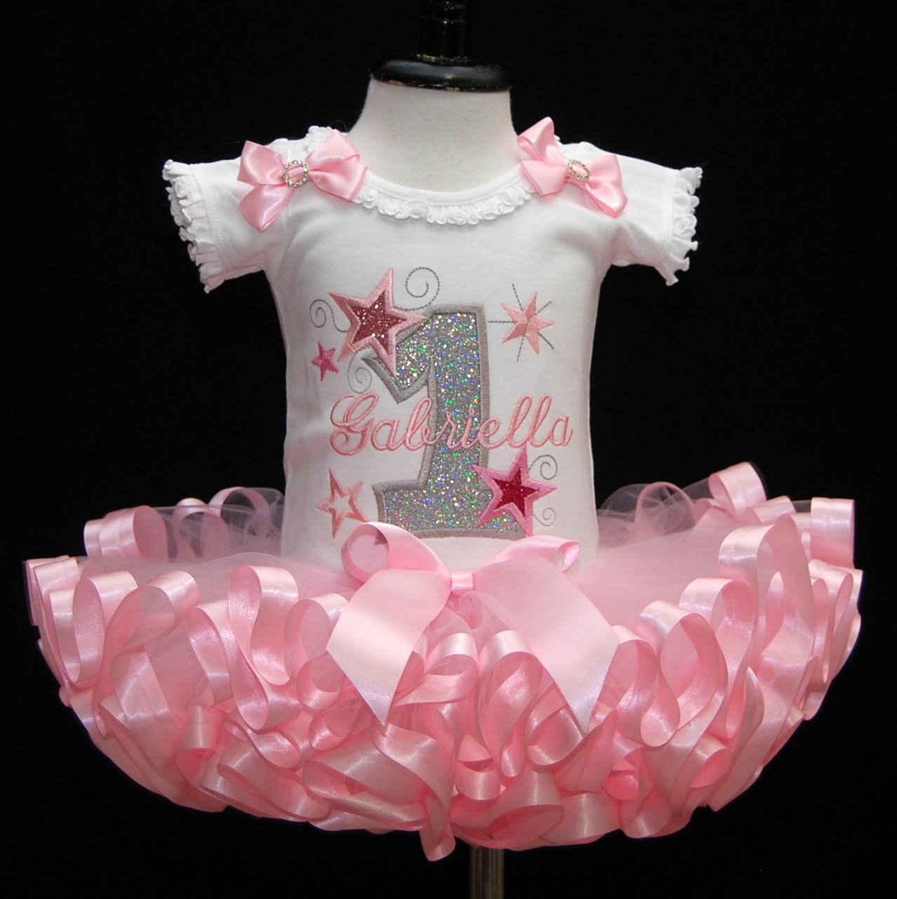 1st birthday outfit girl, princess glitter stars