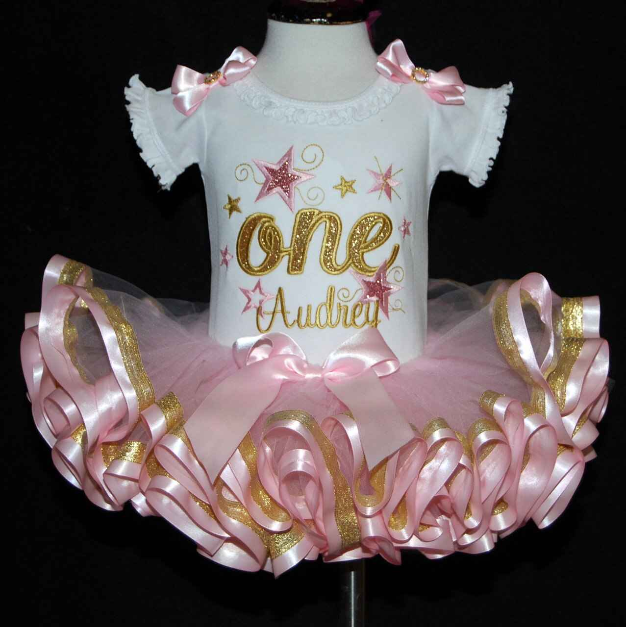 1st birthday outfit girl, glitter one with stars pink and gold