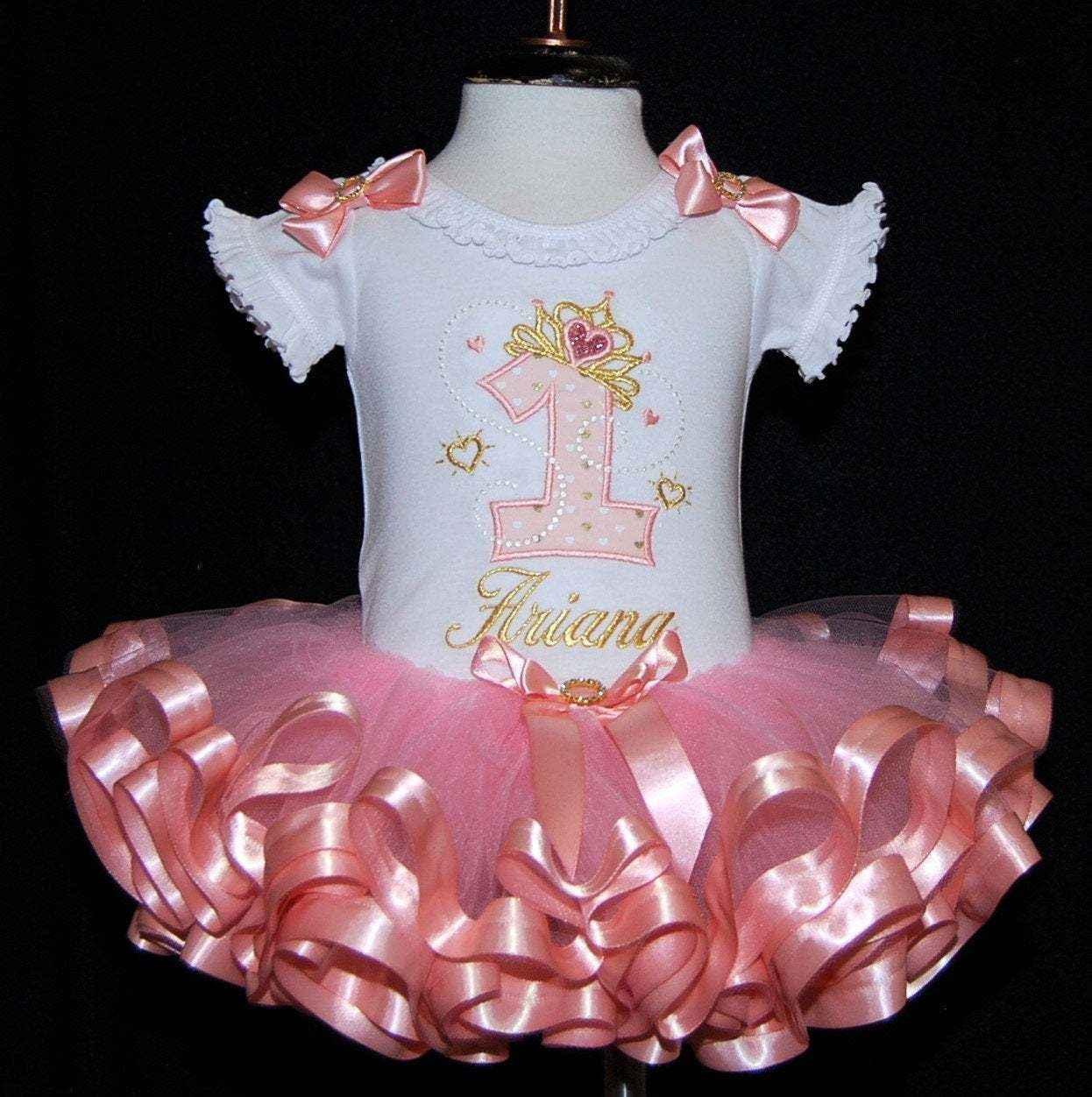 1st birthday girl outfit, gold tiara princess birthday dress