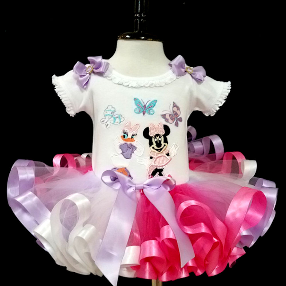 First birthday outfit girl Minnie and Daisy with Butterflies ribbon trimmed tutu