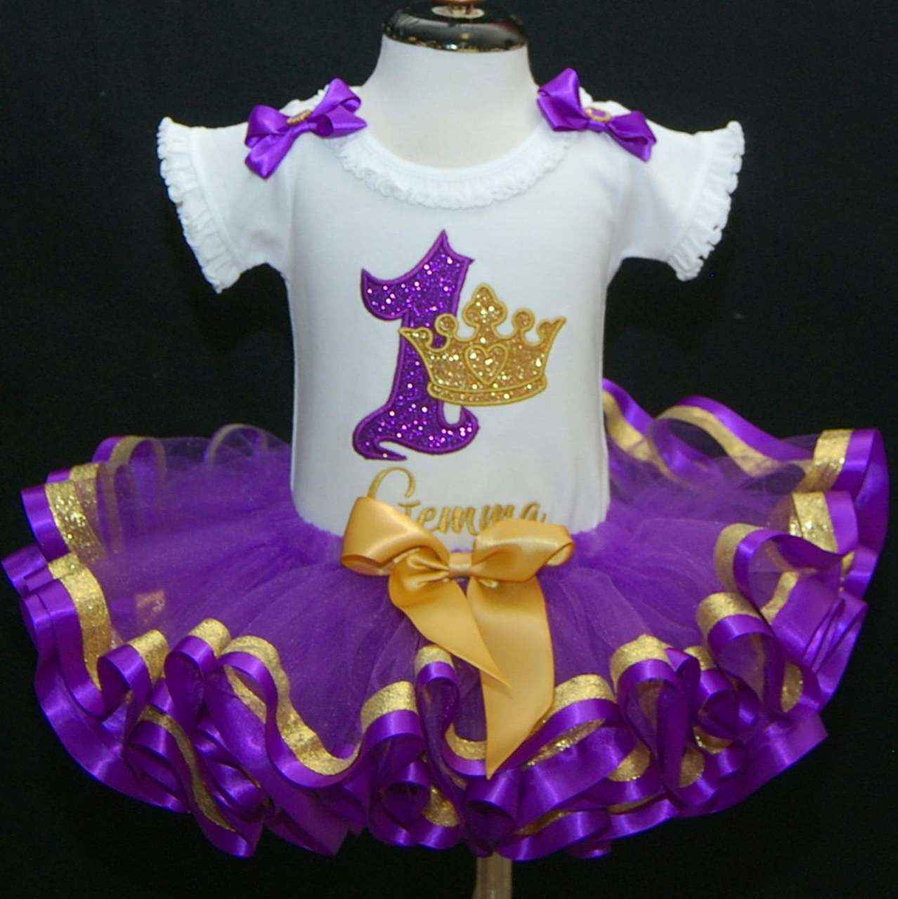 1st birthday girl princess outfit, glitter crown in purple
