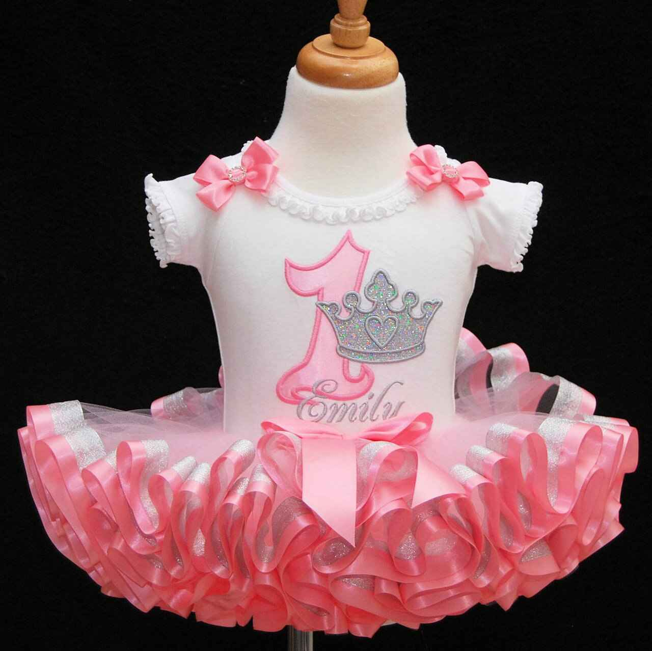 1st birthday outfit princess with crown pink and silver