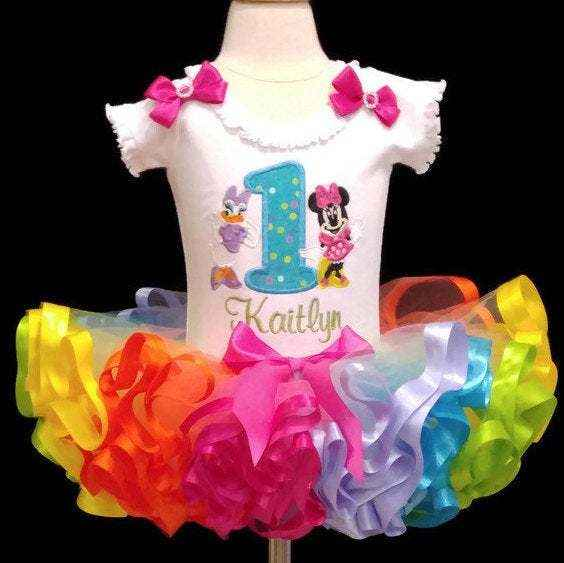 1st birthday outfit Miss Mouse and Daisy with rainbow tutu