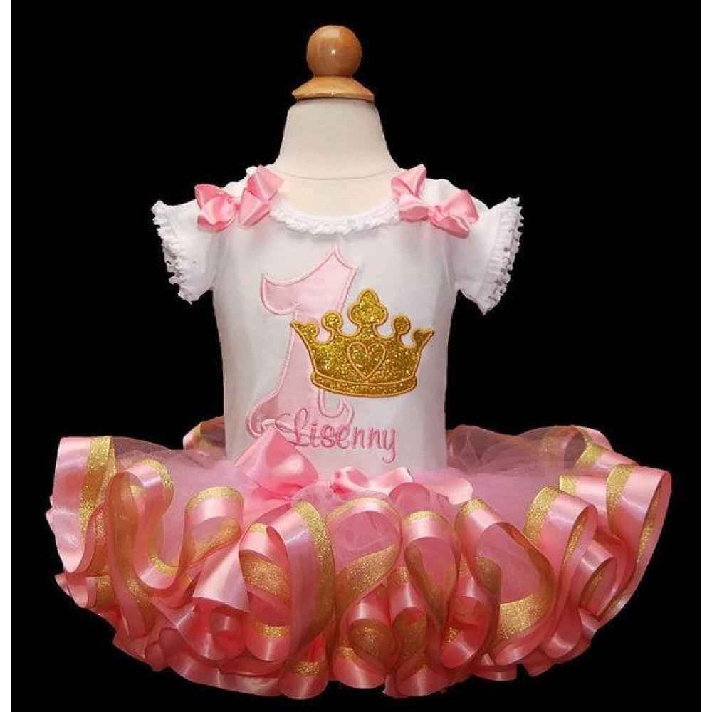 1st birthday outfit pink and gold glitter crown