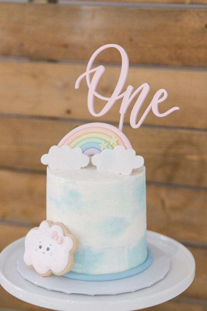 Rainbow First Birthday Outfi birthday cake closeup