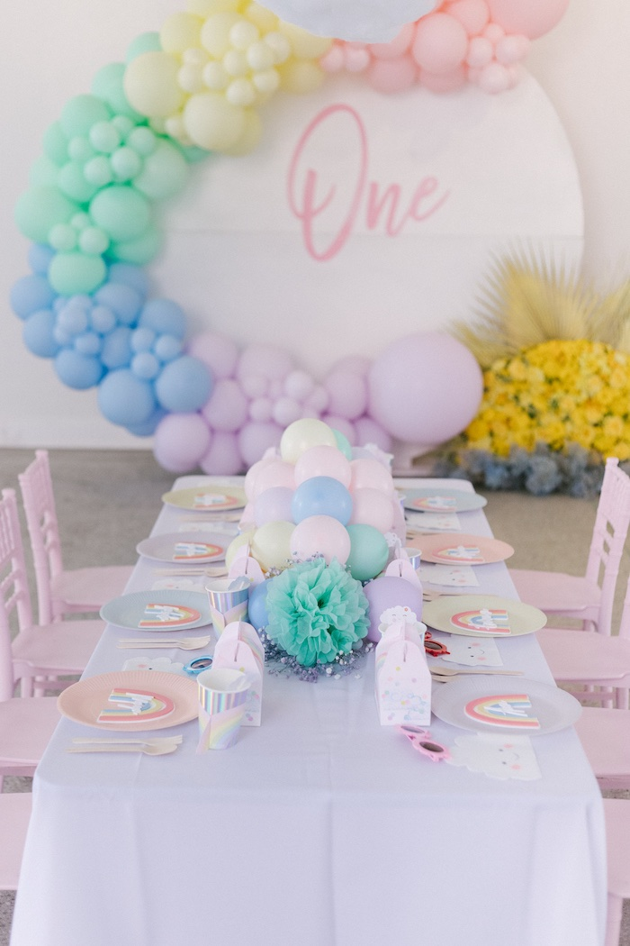 Rainbow first birthday table