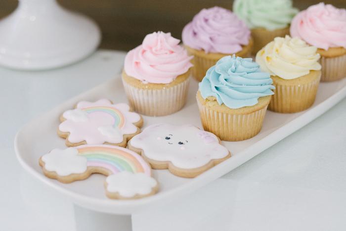 Rainbow First Birthday Outfi cupcake table