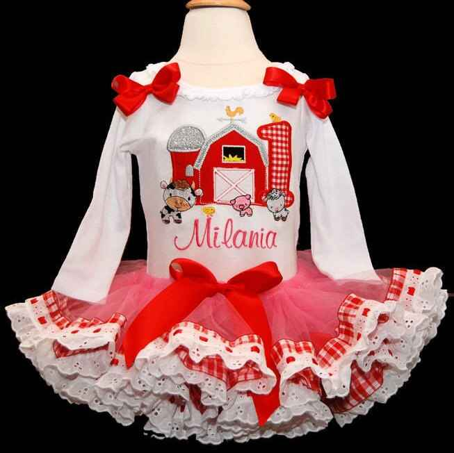1st birthday outfit, Barnyard Birthday Number with eyelet lace trim