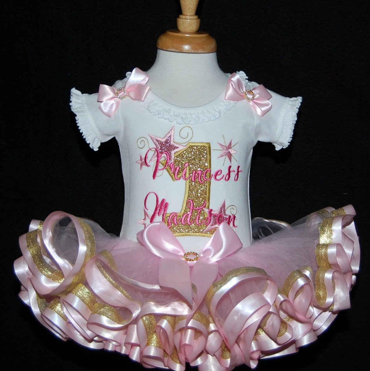 1st birthday princess gold glitter personalized birthday dress