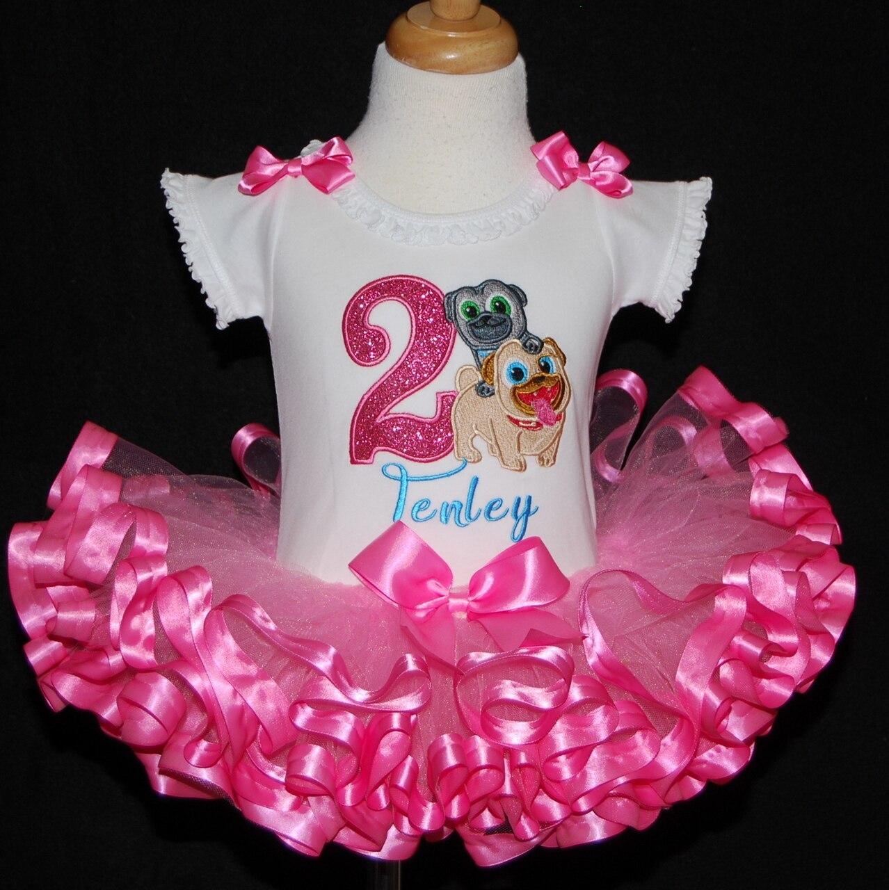 Puppy Dog Pals birthday, 2nd birthday dress ,  ribbon trimmed handmade birthday ou