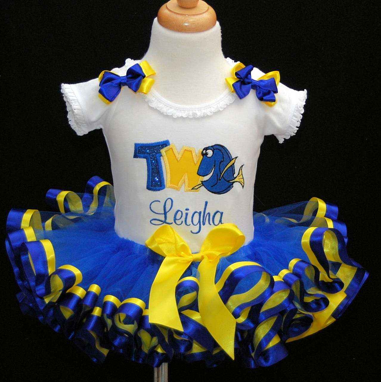2nd birthday girl outfit, with Dory ribbon trimmed tutu