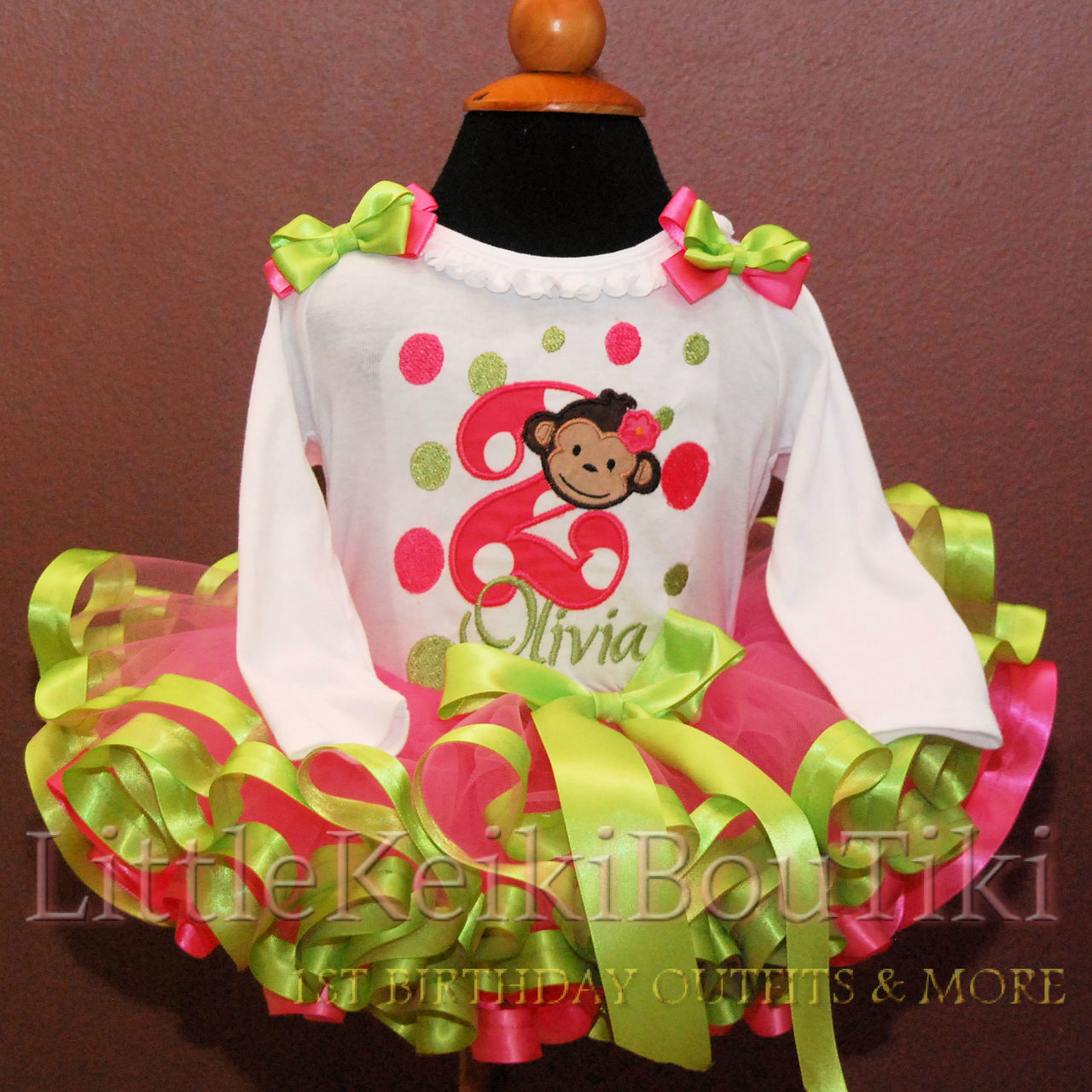 2nd Birthday outfit girl, mod monkey outfit pink and green
