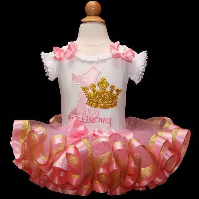baby girl 1st birthday outfit with golden crown-birthday tutu outfit with ribbon trimmed tutu