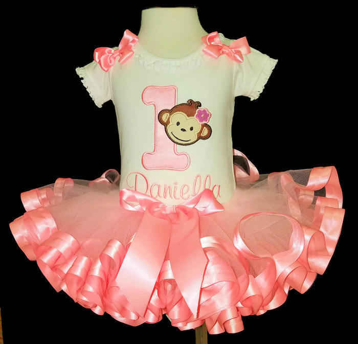 baby girl 1st birthday outfit, mod monkey in pink