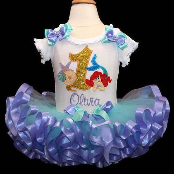 baby girl 1st birthday outfit, little mermaid