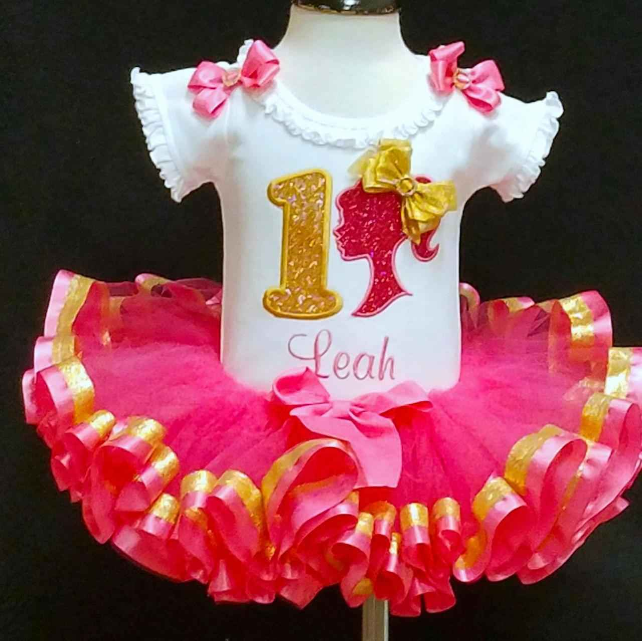 Barbie Girl Glitter 1st Birthday Outfit