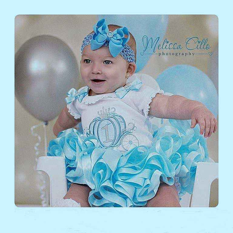 Cinderella's Carriage -1st birthday outfit blue satin