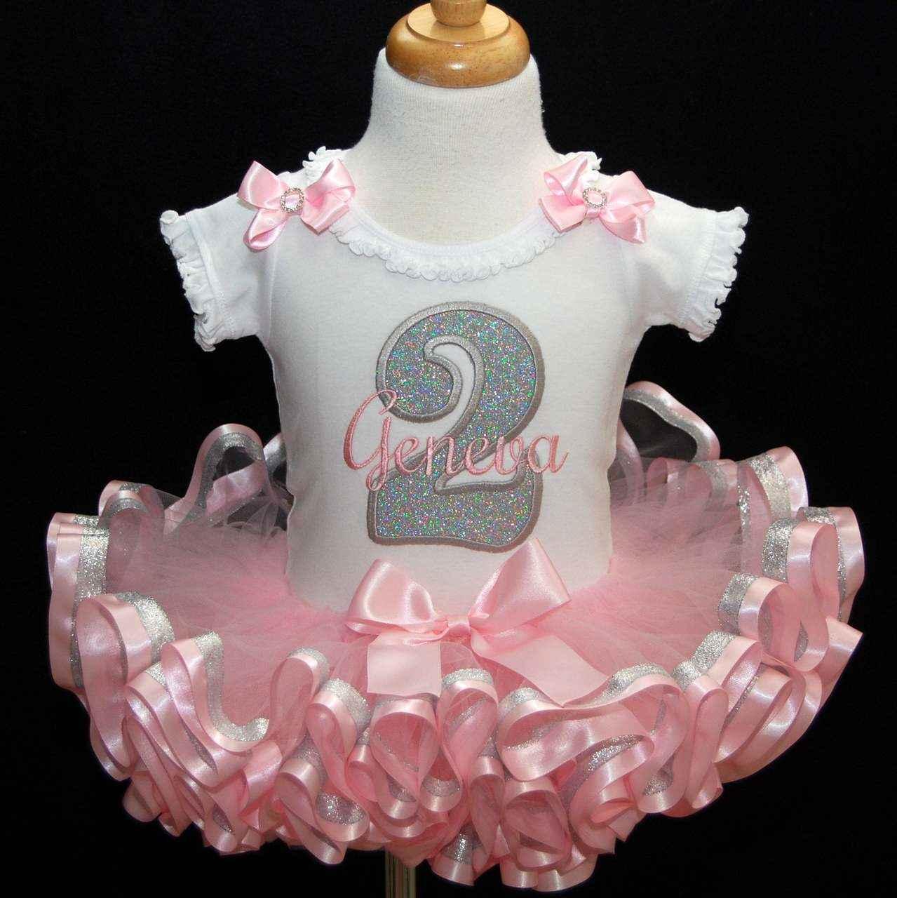 2nd Birthday outfit girl, princess birthday, ribbon trim tutu